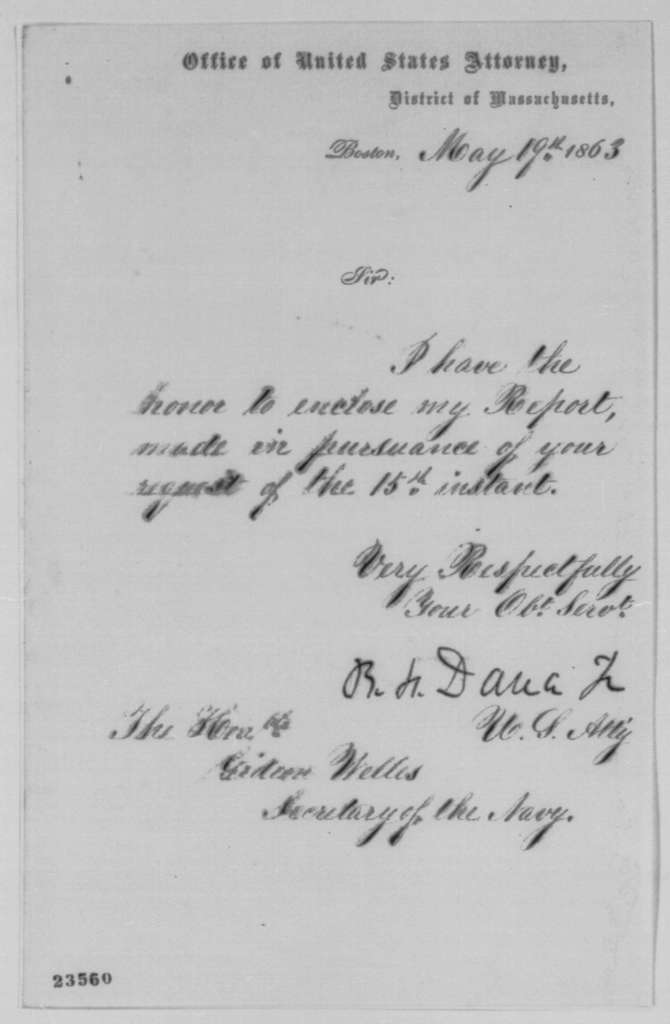 Richard H. Dana Jr. to Gideon Welles, Tuesday, May 19, 1863  (Cover letter)