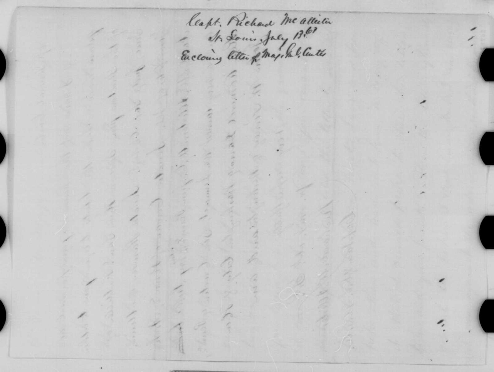 Richard McAllister to Abraham Lincoln, Monday, July 13, 1863  (General Samuel Curtis and military affairs in Missouri)