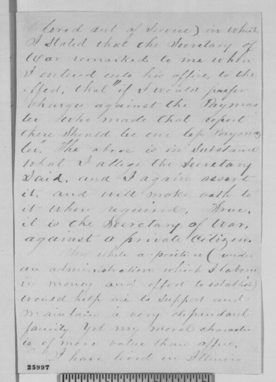 Richard O. Warinner to Abraham Lincoln, Wednesday, September 02, 1863  (Statements made concerning loyalty of Frank Orme)