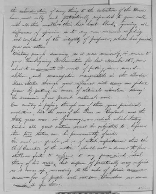 Richard P. L. Baber to Abraham Lincoln, Monday, December 07, 1863  (Political affairs)
