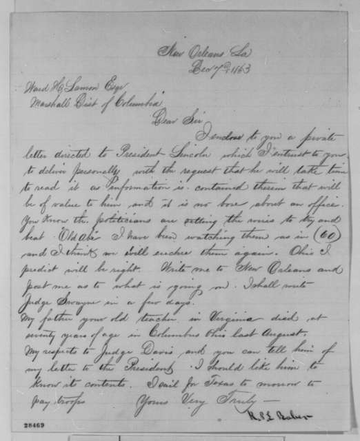 Richard P. L. Baber to Ward H. Lamon, Monday, December 07, 1863  (Wants Lamon to show Lincoln his letter)
