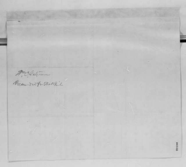 Richard S. Field to Abraham Lincoln, Tuesday, March 03, 1863  (Recommends William Gatzmer for West Point appointment)