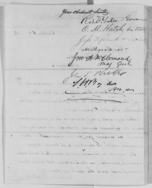 Richard Yates, et al. to Abraham Lincoln, Tuesday, October 06, 1863  (Recommendation for Uri Manly)