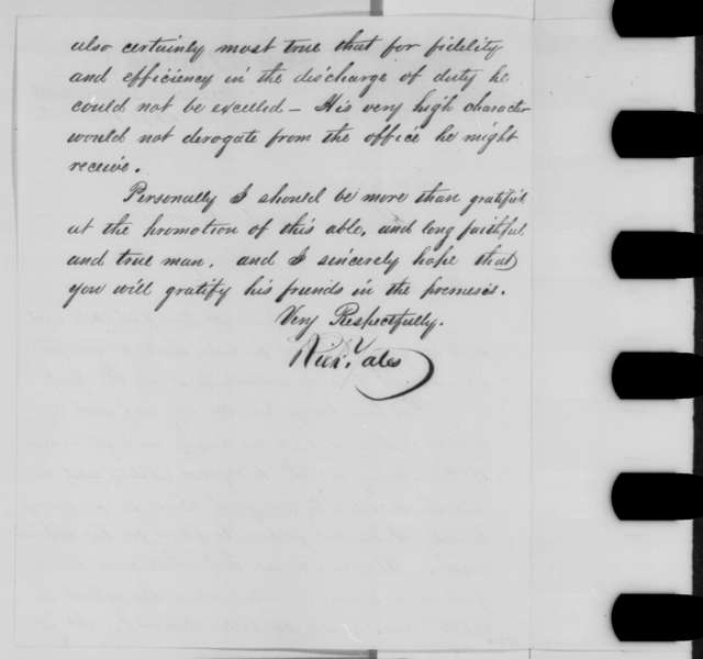 Richard Yates to Abraham Lincoln, Saturday, September 19, 1863  (Recommendation for Anson Miller)