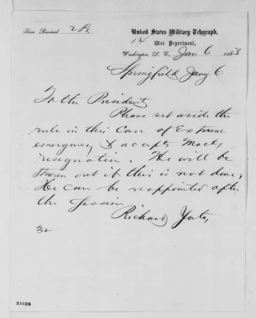 Richard Yates to Abraham Lincoln, Tuesday, January 06, 1863  (Telegram requesting acceptance of Alonzo Mack's resignation)