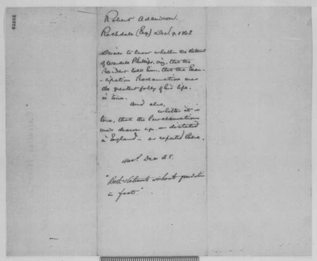 Robert Adamson to Abraham Lincoln, Wednesday, December 09, 1863  (Support from Britain and questions regarding the Emancipation Proclamation)