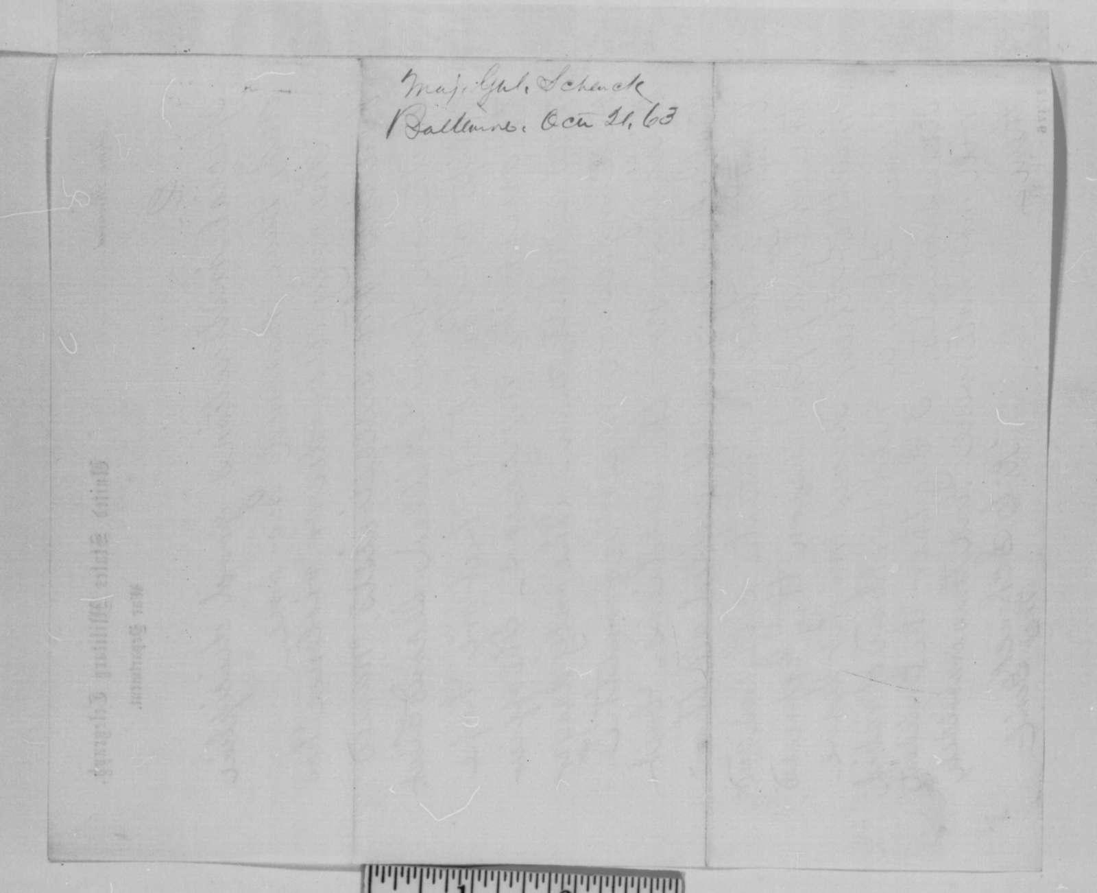 Robert C. Schenck to Abraham Lincoln, Wednesday, October 21, 1863  (Telegram concerning behavior of black troops in Maryland)