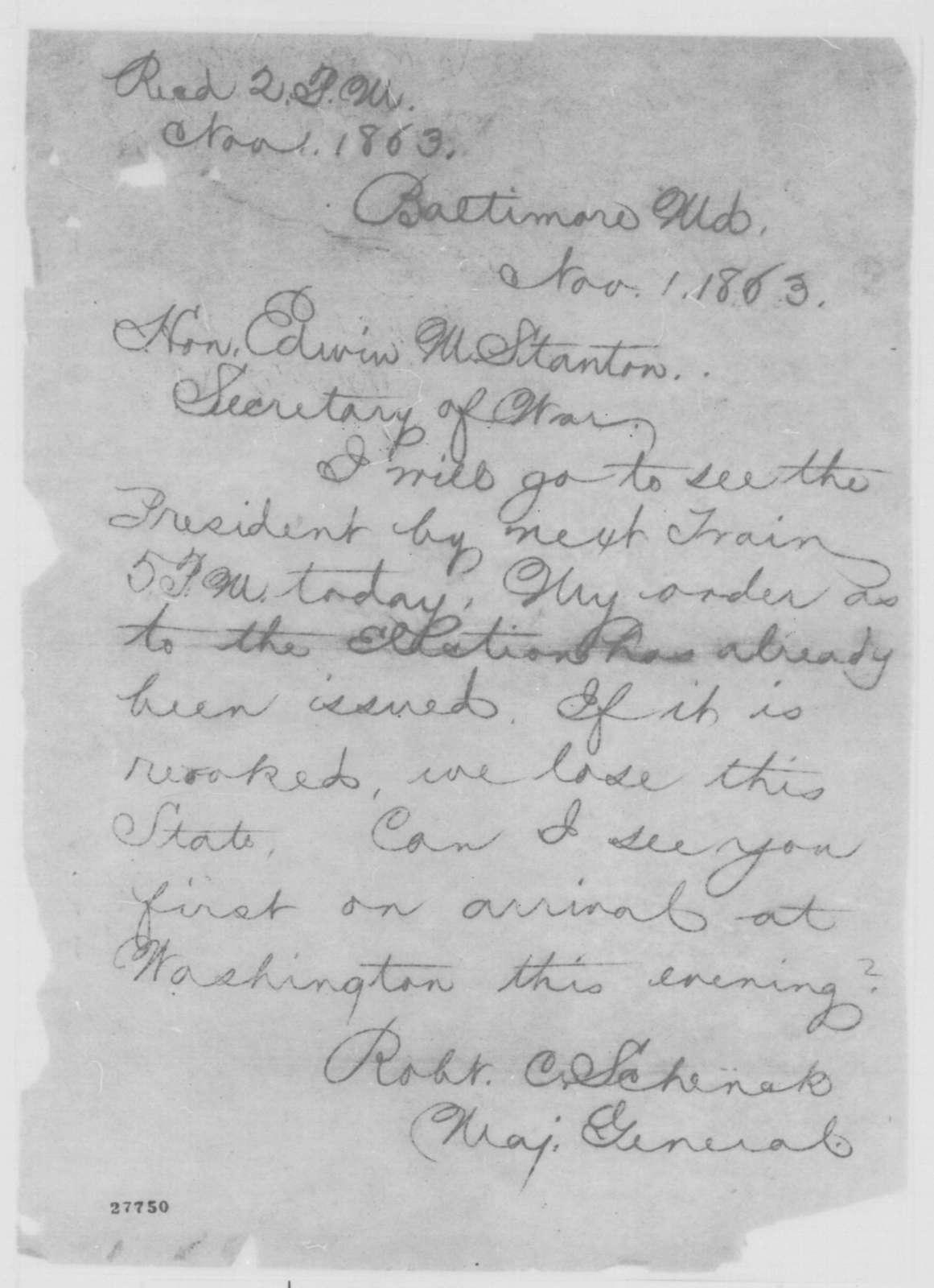 Robert C. Schenck to Edwin M. Stanton, Sunday, November 01, 1863  (Telegram concerning the Maryland election)