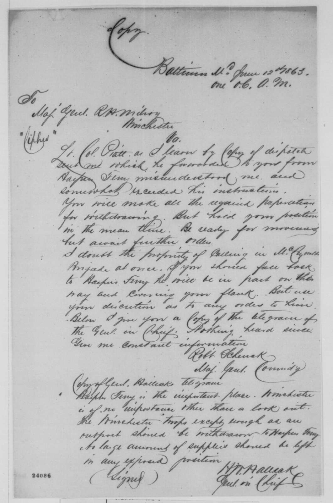 Robert C. Schenck to Robert H. Milroy, Friday, June 12, 1863  (Military affairs; endorsed by Henry W. Halleck)