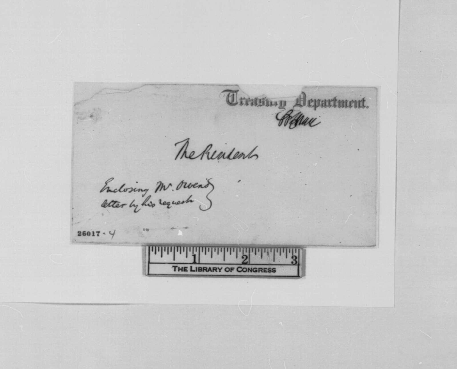 Robert Dale Owen to Abraham Lincoln, Thursday, September 03, 1863  (Sends clipping)