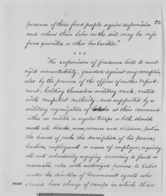 Robert Dale Owen to Abraham Lincoln, Wednesday, August 05, 1863  (Sends report of John Eaton concerning freedmen in Tennessee; with abstract of Eaton's report)