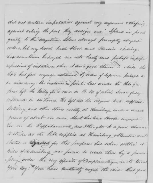 Robert H. Milroy to Abraham Lincoln, Saturday, July 04, 1863  (Response to Lincoln's letter of June 29 concerning Milroy's conduct)