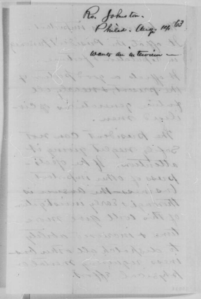 Robert Johnston to Abraham Lincoln, Friday, August 14, 1863  (Seeks interview)