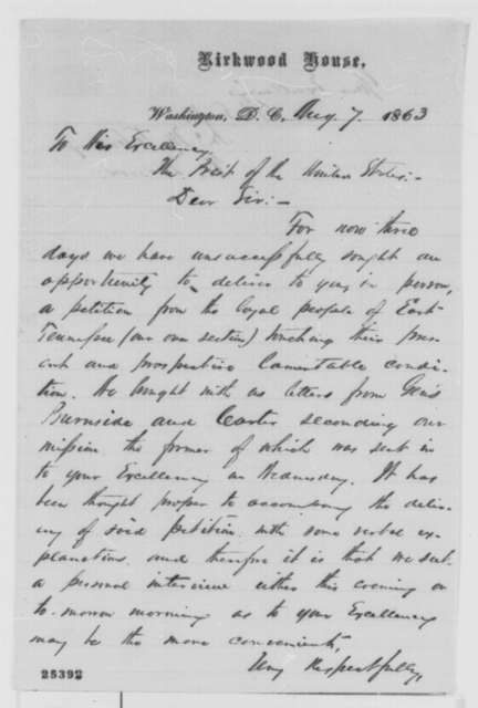 Robert Morrow and John M. Fleming to Abraham Lincoln, Friday, August 07, 1863  (Seek interview to present petition from East Tennessee)