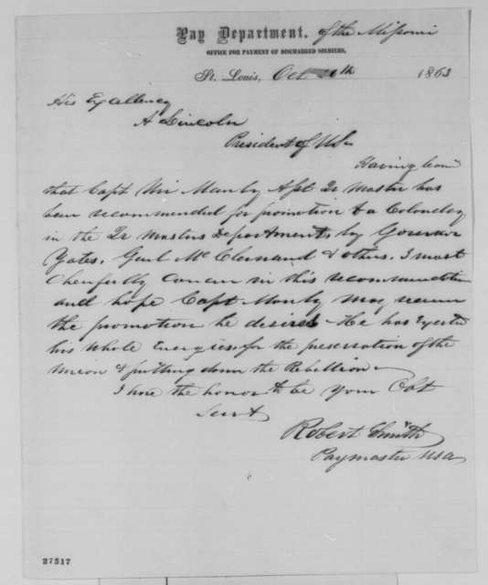 Robert Smith to Abraham Lincoln, Monday, October 26, 1863  (Recommendation for Uri Manly)