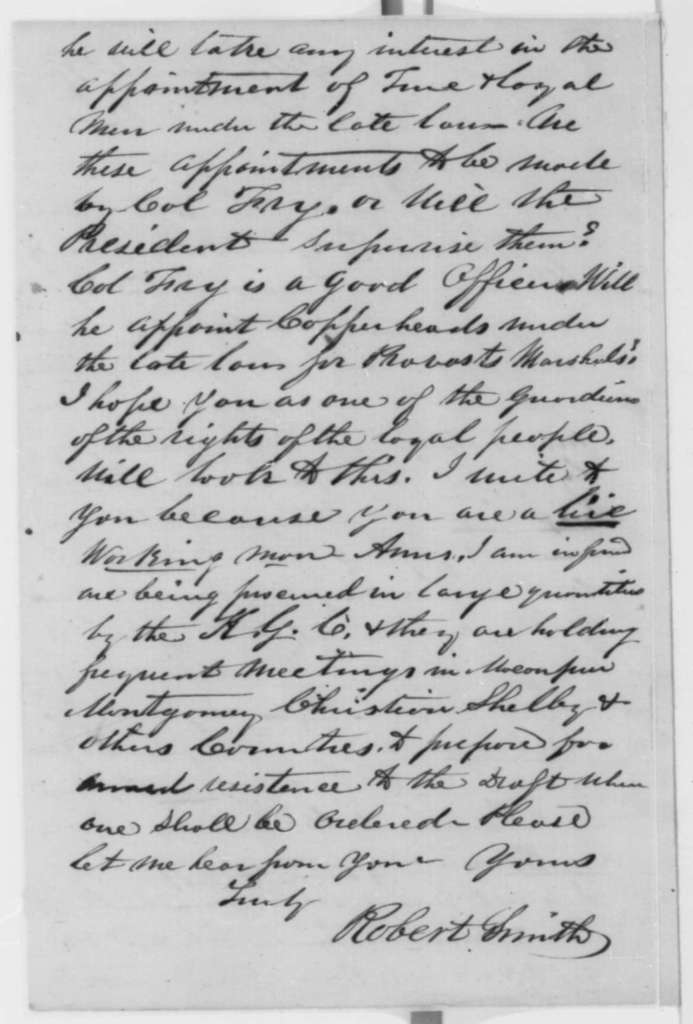 Robert Smith to Elihu B. Washburne, Sunday, March 29, 1863  (Provost marshal appointment in Illinois; endorsed by Washburne)