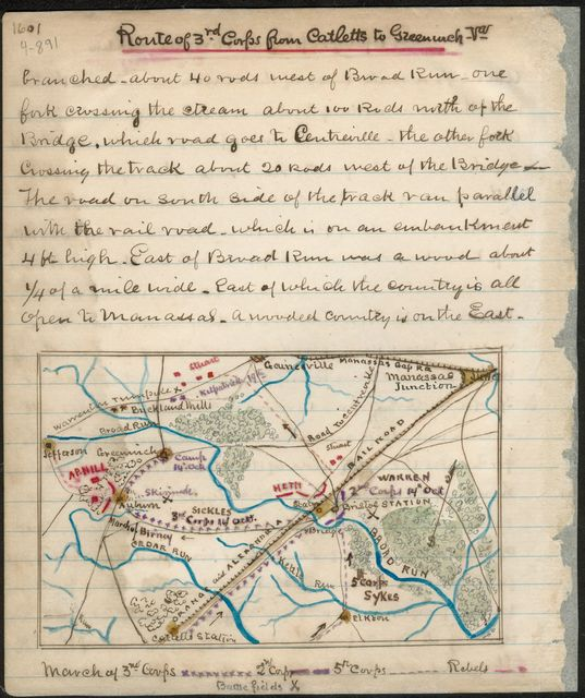 Route of 3rd Corps from Cattlet's [sic] to Greenwich, Va.