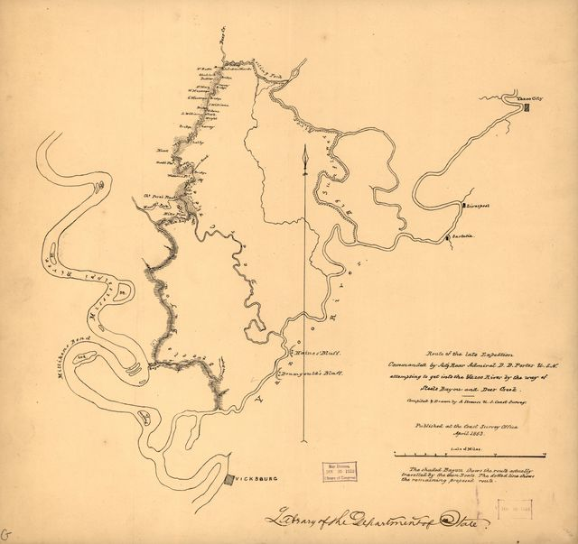 Route of the late expedtion [sic] commanded by Act'g. Rear Admiral D. D. Porter U.S.N. attempting to get into the Yazoo River by the way of Steels Bayou and Deer Creek