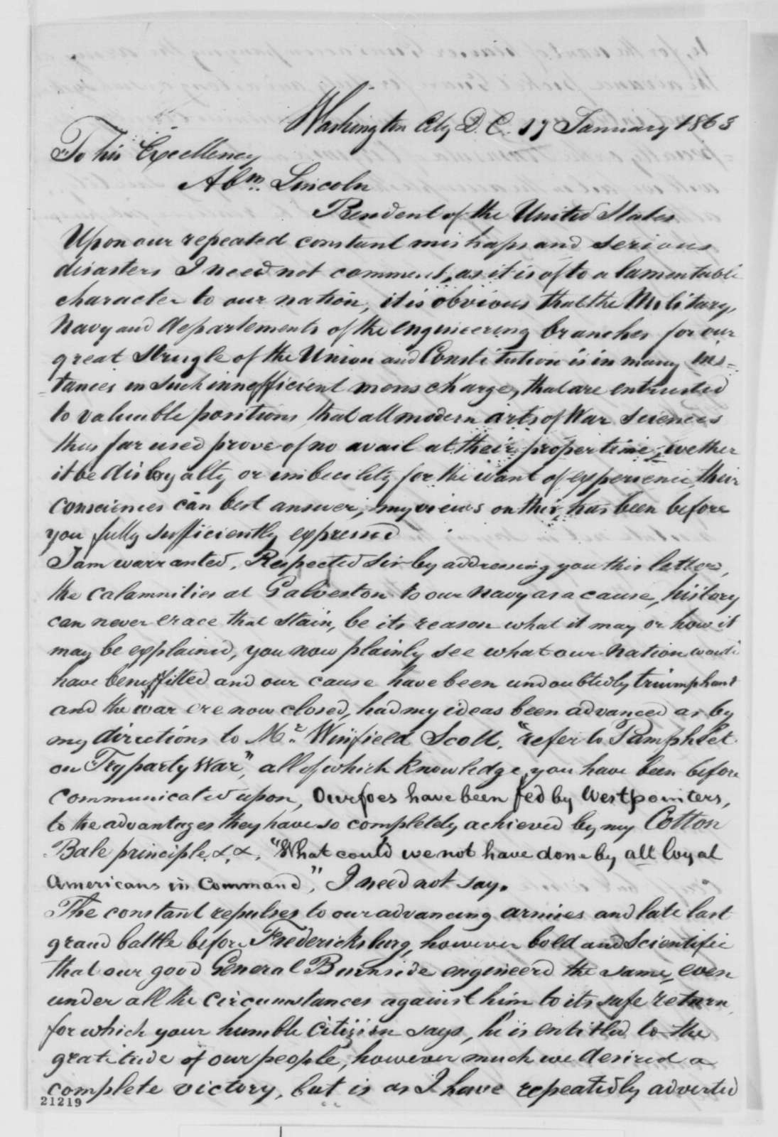 Rowland Cromelien to Abraham Lincoln, Saturday, January 17, 1863  (Wants government to buy his railroad track for transporting heavy guns)