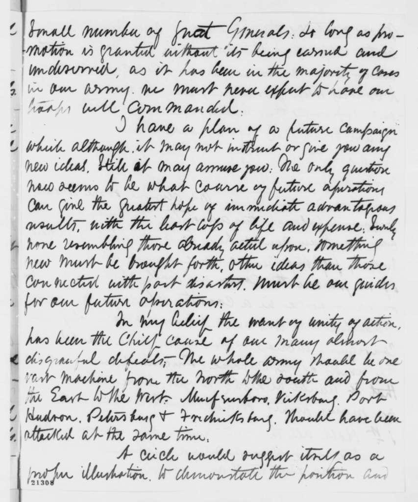 Rush C. Hawkins to Abraham Lincoln, Thursday, January 22, 1863  (Military advice)