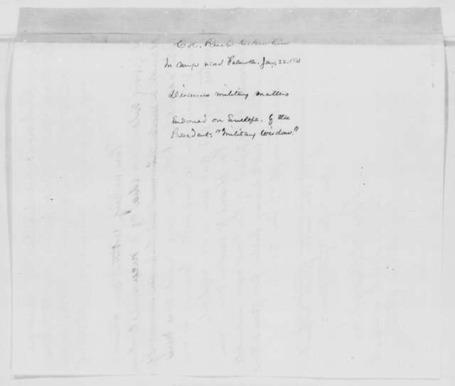 Rush C. Hawkins to Abraham Lincoln, Thursday, January 22, 1863  (Military advice)