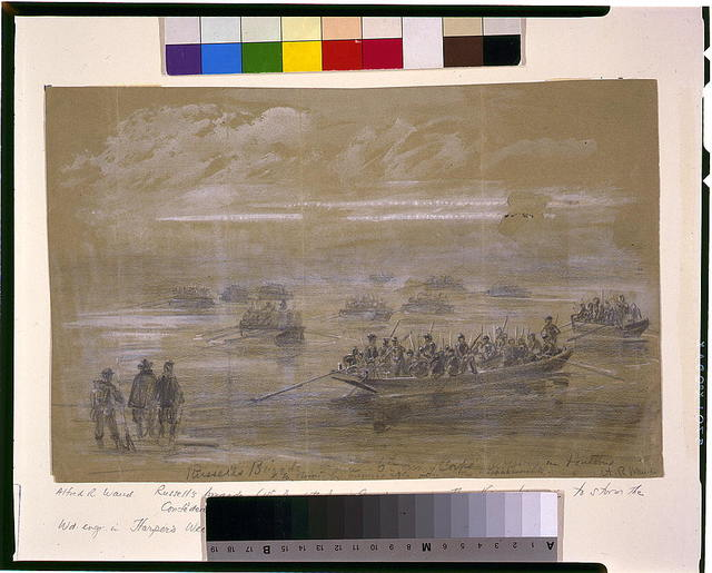 Russells Brigade, 1st div. 6th Army Corps, crossing in Pontoons to storm the enemies rifle pits on the Rappahannock
