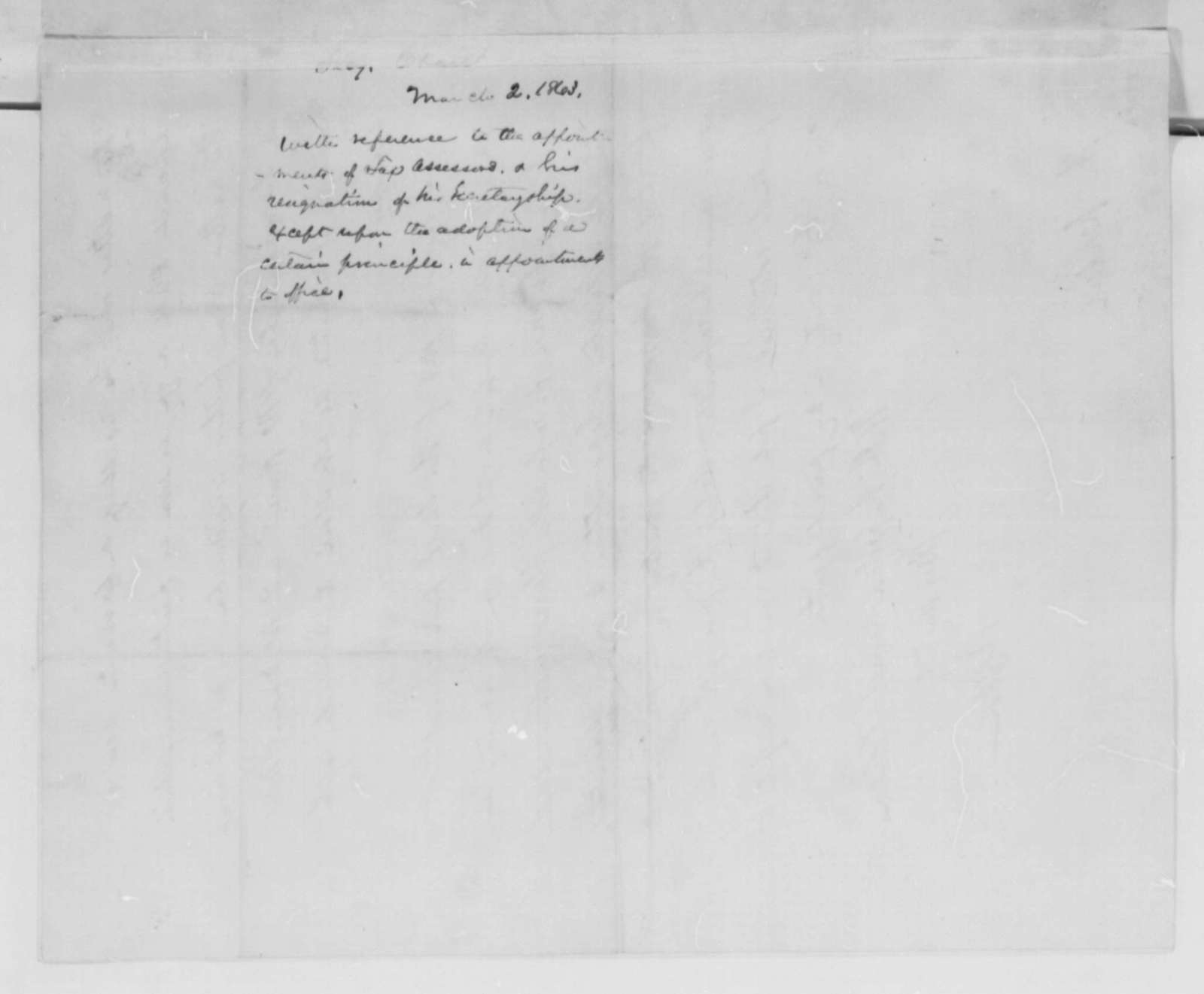 Salmon P. Chase to Abraham Lincoln, Monday, March 02, 1863  (Nominations for collector of internal revenue)