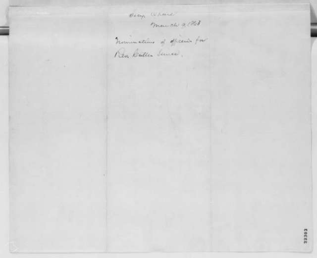 Salmon P. Chase to Abraham Lincoln, Monday, March 09, 1863  (Sends list of officers for revenue cutter service)