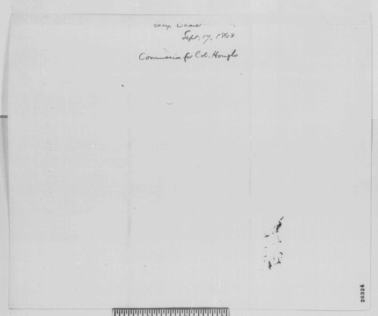 Salmon P. Chase to Abraham Lincoln, Thursday, September 17, 1863  (Sends commission)