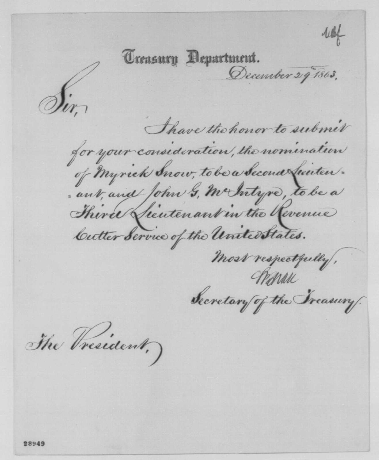 Salmon P. Chase to Abraham Lincoln, Tuesday, December 29, 1863  (Sends nominations)