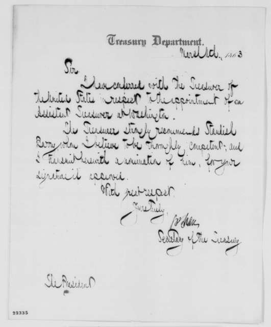 Salmon P. Chase to Abraham Lincoln, Wednesday, March 11, 1863  (Recommends Standish Barry for assistant treasurer)