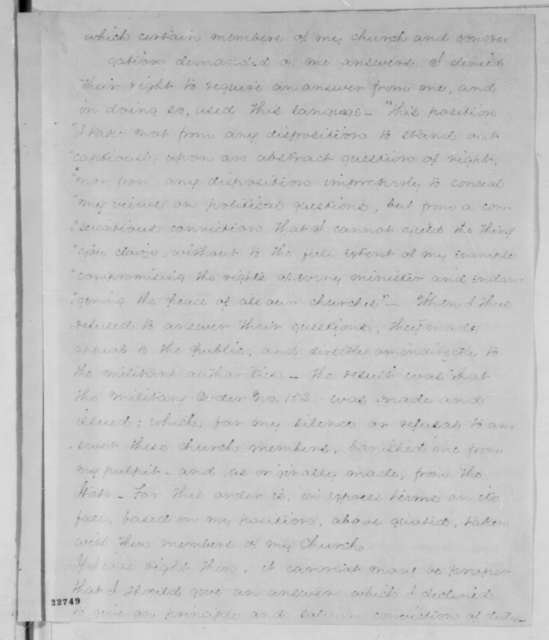 Samuel B. McPheeters to Samuel R. Curtis, Tuesday, March 31, 1863  (Charges of disloyalty)