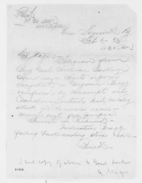Samuel Bruch to Anson Stager, Friday, February 06, 1863  (Telegram reporting military movements in Kentucky and Virginia)