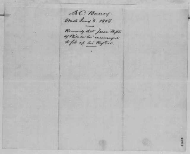 Samuel C. Pomeroy to Abraham Lincoln, Thursday, January 08, 1863  (Jesse E. Peyton's regiment; endorsed by James N. McDougall and Edgar Cowan)