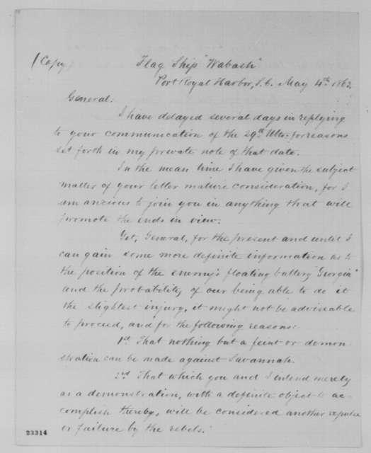 Samuel F. DuPont to David Hunter, Monday, May 04, 1863  (Military affairs)