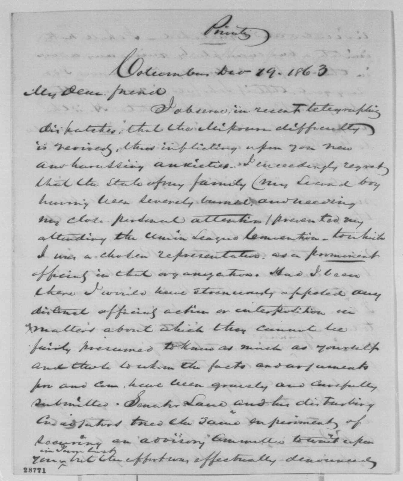 Samuel Galloway to Abraham Lincoln, Saturday, December 19, 1863  (Political affairs)