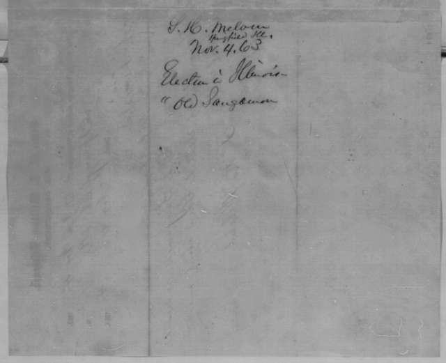 Samuel H. Melvin to Abraham Lincoln, Wednesday, November 04, 1863  (Telegram reporting election results from Sangamon County)