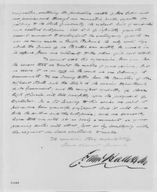 Samuel Hallett & Co. to Abraham Lincoln, Thursday, May 07, 1863  (Pacific railroad)