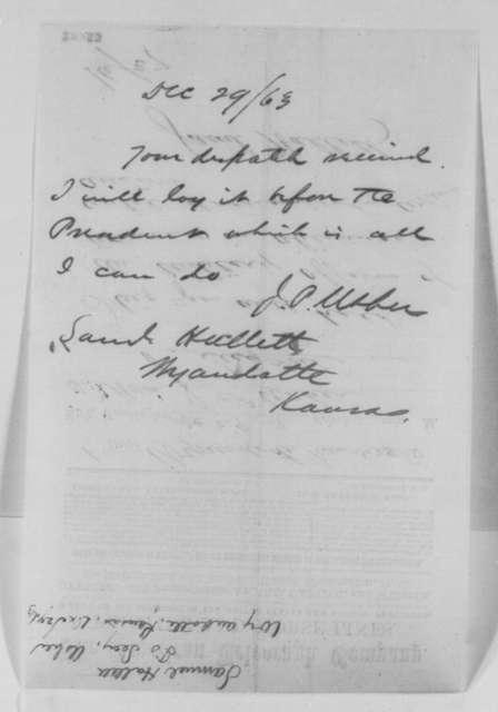 Samuel Hallett to John P. Usher, Monday, December 28, 1863  (Telegram concerning military affairs in Kansas; with copy of Usher's reply)