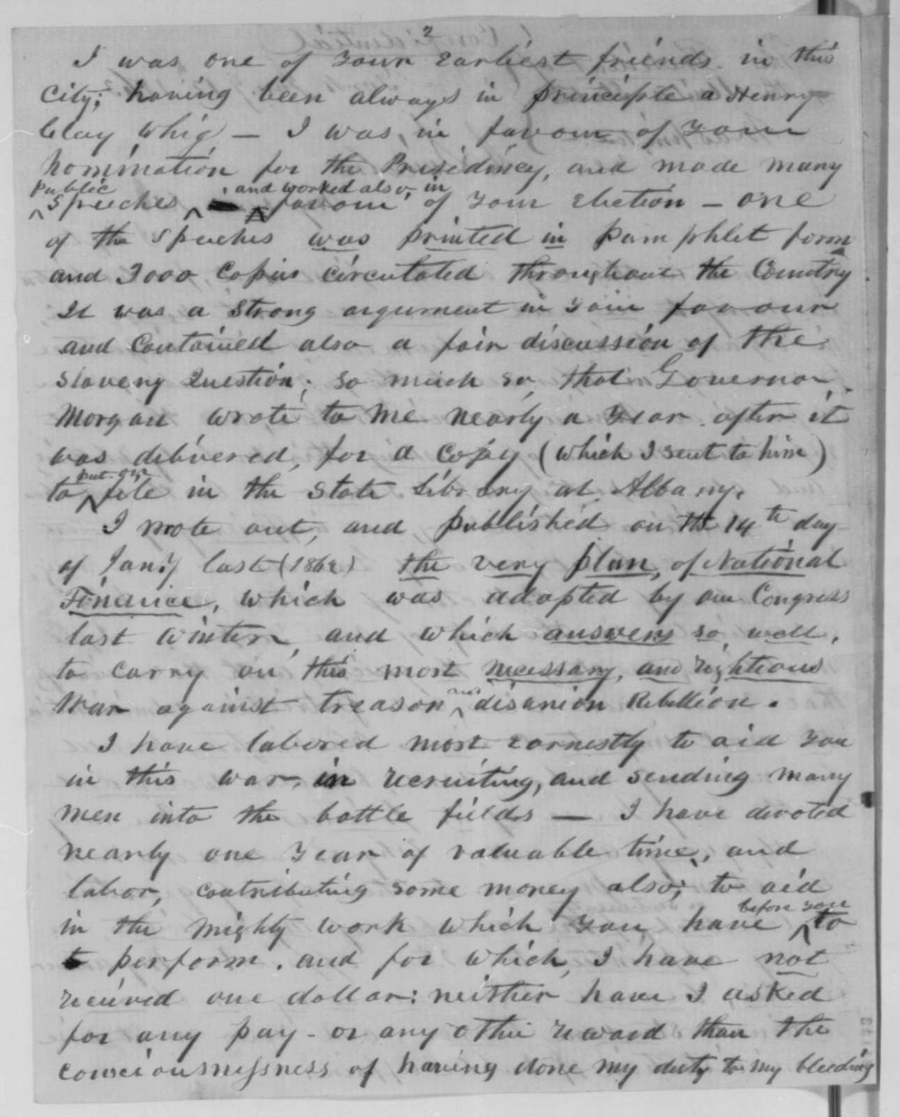 Samuel Hotaling to Abraham Lincoln, Monday, January 12, 1863  (Seeks pass to New Orleans and offers political advice)