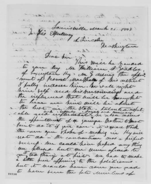 Samuel L. Casey to Abraham Lincoln, Saturday, March 21, 1863  (Recommends William Goodloe)