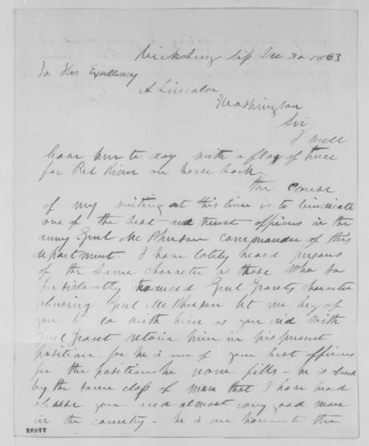 Samuel L. Casey to Abraham Lincoln, Wednesday, December 30, 1863  (Writes to defend character of General James B. McPherson)