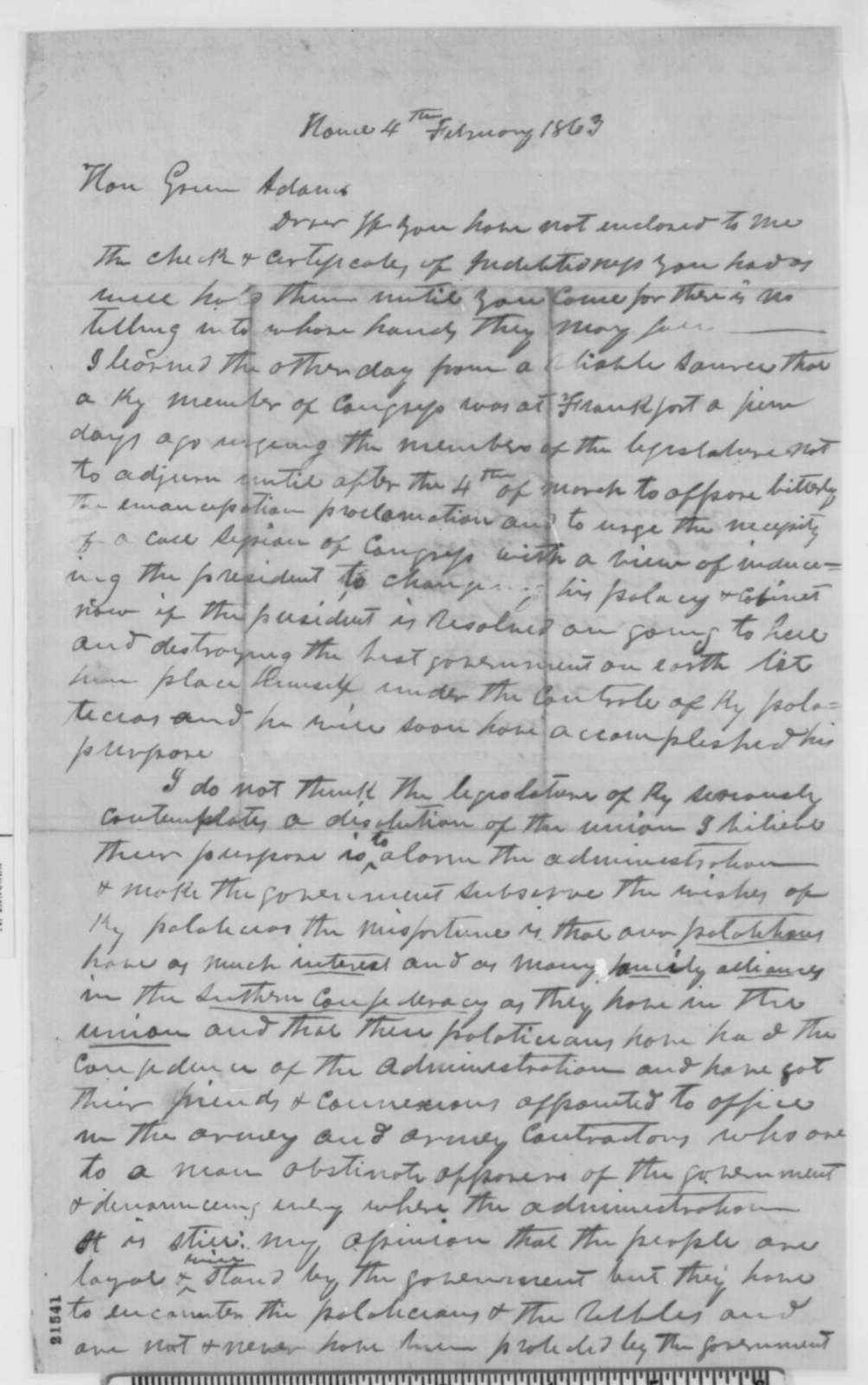 Samuel Lusk to Green Adams, Wednesday, February 04, 1863  (Response to Emancipation Proclamation in Kentucky)