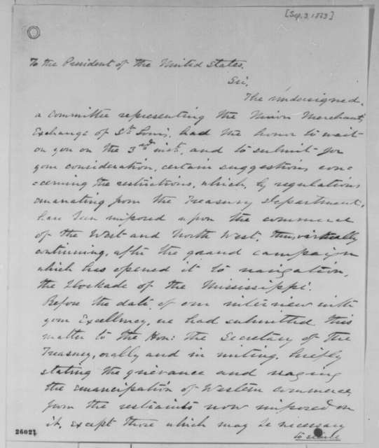 Samuel M. Breckinridge, et al. to Abraham Lincoln, Thursday, September 03, 1863  (Committee of Union merchants from St. Louis presents concerns regarding commerce along the Mississippi)