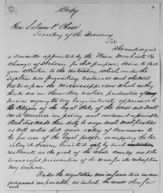 Samuel M. Breckinridge, et al. to Salmon P. Chase, Tuesday, September 01, 1863  (Committee of Union merchants at St. Louis present concerns regarding trade on the Mississippi)