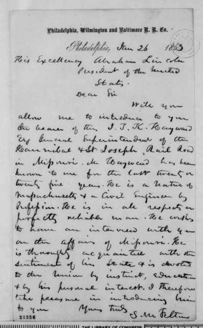 Samuel M. Felton to Abraham Lincoln, Monday, January 26, 1863  (Introduces John T.K. Hayward)