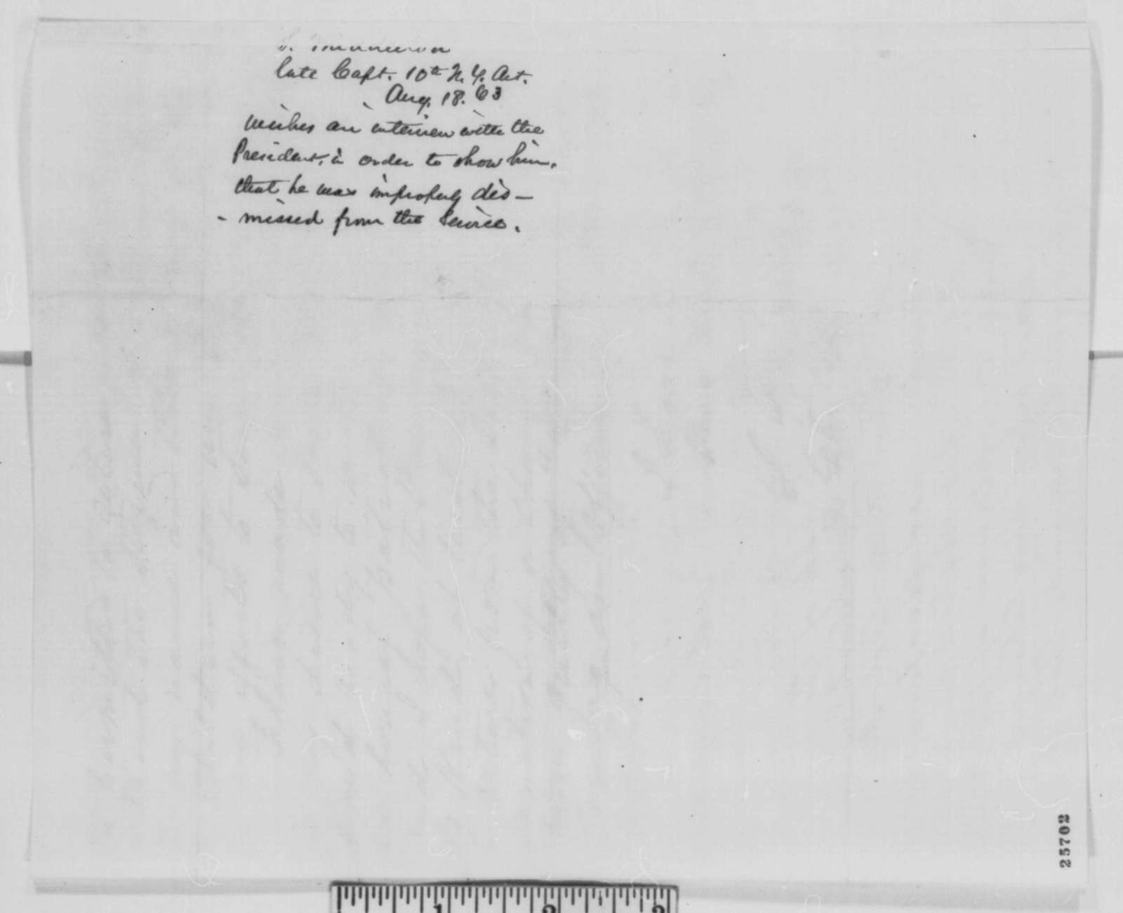 Samuel Middleton to Abraham Lincoln, Tuesday, August 18, 1863  (Seeks interview to discuss his case)