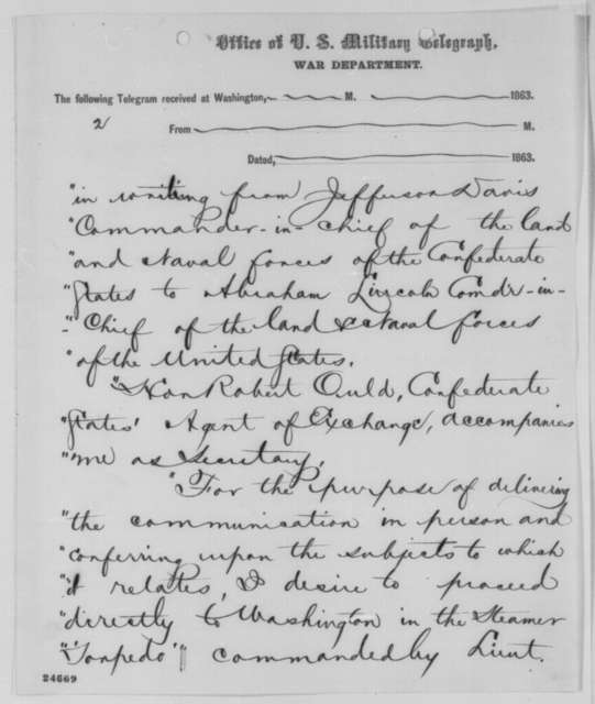 Samuel P. Lee to Gideon Welles, Saturday, July 04, 1863  (Telegram reporting the arrival of Alexander Stephens at Fort Monroe)