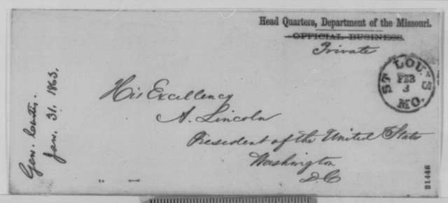 Samuel R. Curtis to Abraham Lincoln, Saturday, January 31, 1863  (Refugee slaves in Missouri)