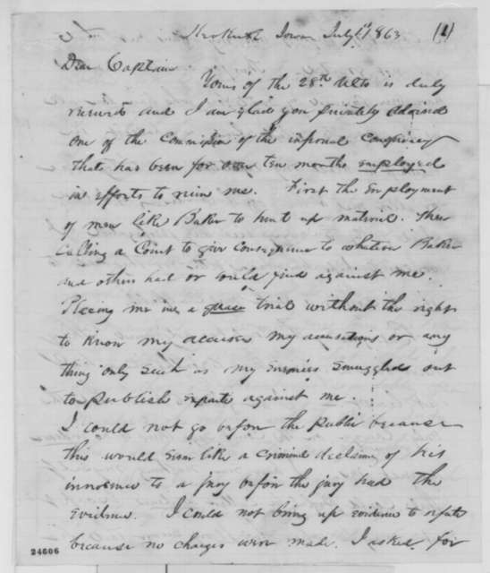 Samuel R. Curtis to Richard McAllister, Wednesday, July 01, 1863  (Defends his conduct in purchasing cotton)